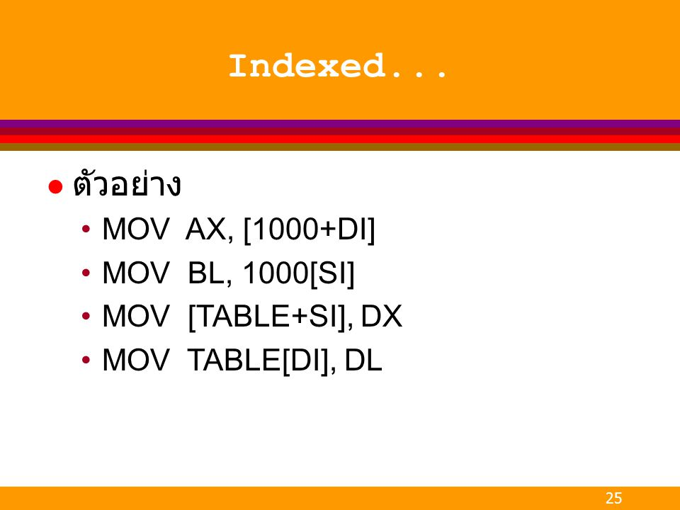 Indexed... ตัวอย่าง MOV AX, [1000+DI] MOV BL, 1000[SI]